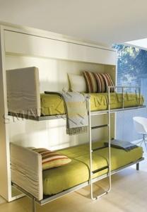 Горизонтальная Двухъярусная Шкаф-Кровать