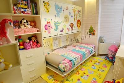 Детская горизонтальная двухъярусная шкаф кровать