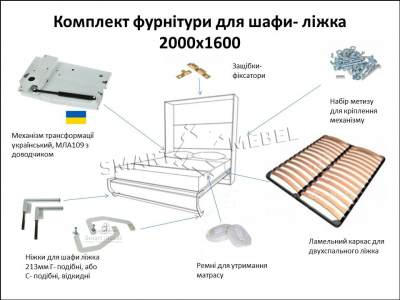 A set of fittings for a wardrobe bed 2000x1600 (Ukraine)