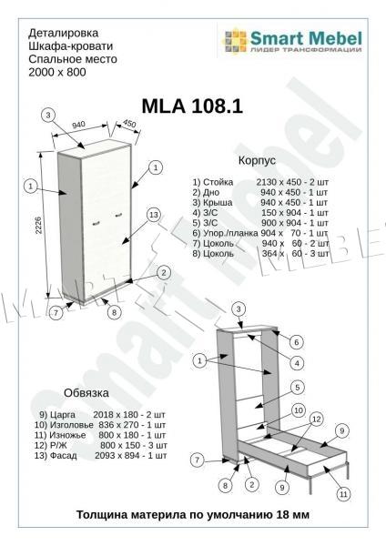 Механизм шкаф-кровать схема расчета